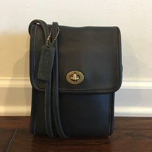 Vintage Coach 9893 Black Leather Crossbody Handbag